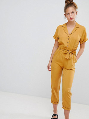 Pull&Bear button through jumpsuit in mustard - Mustard