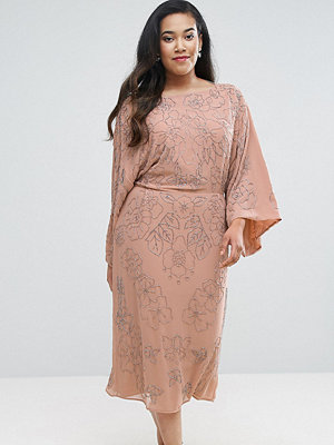 ASOS Curve WEDDING Embellished Midi Dress - Nude