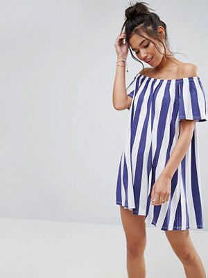 ASOS Off Shoulder Sundress in Deckchair Stripe - Navy/white stripe