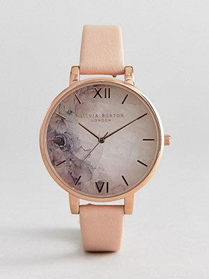 Klockor - Olivia Burton OB16CS12 Marble Floral Leather Watch - Nude