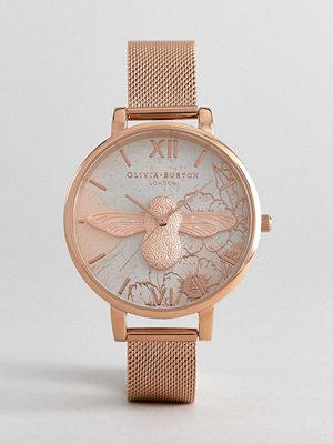 Klockor - Olivia Burton OB16VM26 Abstract Floral Mesh Watch In Rose Gold - Rose gold