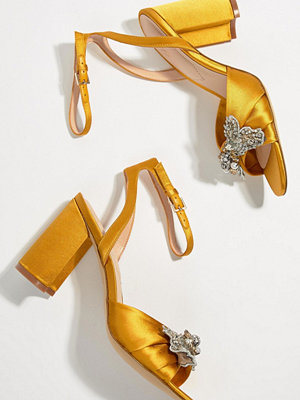 Aldo Embellished Mustard Heeled Sandals - Mustard