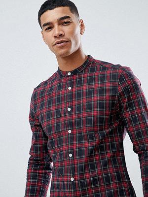 ASOS DESIGN skinny fit check shirt with grandad collar
