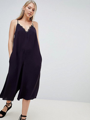French Connection Esther Drape Jumpsuit with Lace Trim - Utility blue