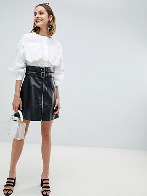 Lost Ink Biker Skirt With Double Buckle And Zip Front In Faux Leather