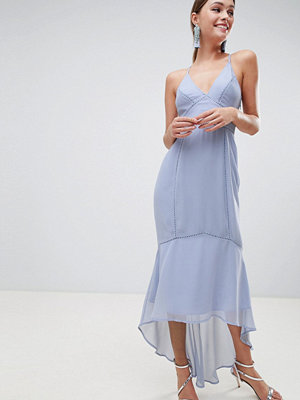 ASOS DESIGN cami midi dress with lace inserts - Pastel blue