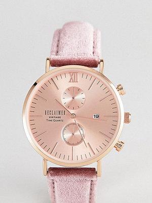 Klockor - Reclaimed Vintage Inspired Chronograph Velvet Watch In Pink