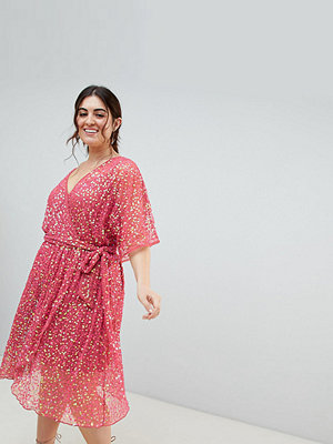 ASOS Curve ASOS DESIGN Curve kimono sequin wrap dress - Pink