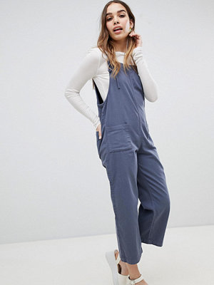 Monki Tie Strap Denim Dungarees