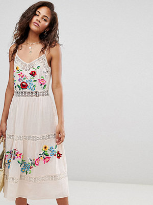 Asos Tall ASOS DESIGN Tall lace insert crinkle tiered midi dress with embroidery