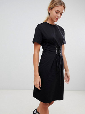 Glamorous midi dress with lace up detail