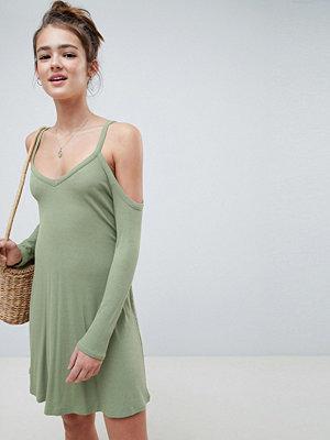 ASOS DESIGN cold shoulder mini swing dress - Khaki