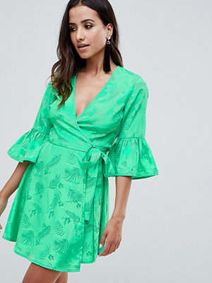 ASOS DESIGN jacquard wrap mini dress with fluted sleeve