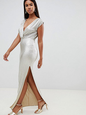 Ra-Re London metallic wrap maxi dress - Bronze