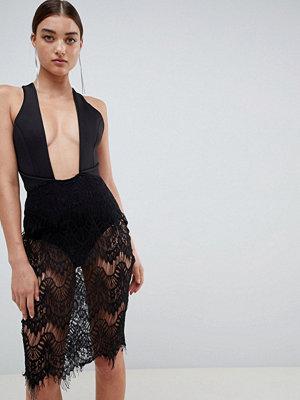 Ra-Re London wrap front backless lace mini dress