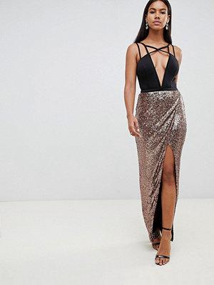 Ra-Re London metallic skirt maxi dress - Black/gold