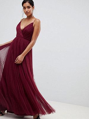 ASOS DESIGN cami pleated tulle maxi dress - Oxblood