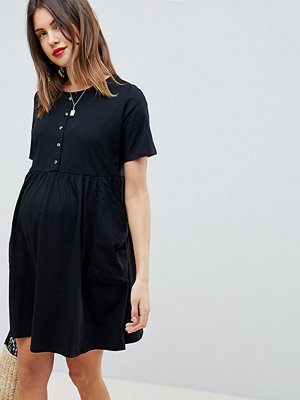 ASOS Maternity ASOS DESIGN Maternity mini smock dress with pockets and button front
