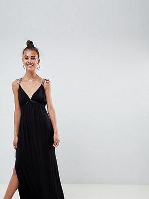 Asos Tall ASOS DESIGN Tall rose applique strap maxi dress