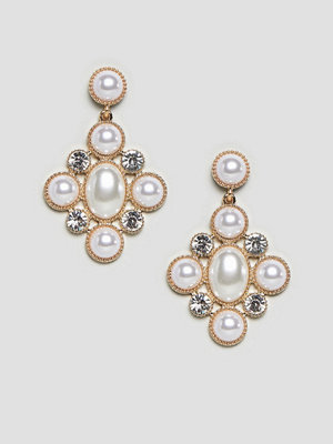 ASOS örhängen DESIGN earrings in cross shape with pearls and crystals