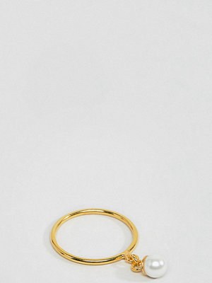 ASOS DESIGN gold plated sterling silver pearl charm ring