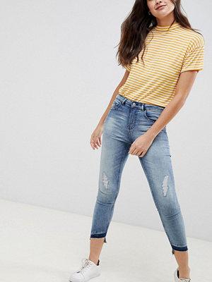 Jdy High Call Smala jeans med slitna partier Mellanblå denim