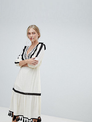 Stevie May Exclusive Charo embroidered midi dress - Vintage cream