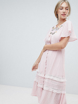 Stevie May Exclusive Agathe embroidered midi dress - Blush