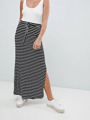 Vila stripe jersey maxi skirt - Black/snow white