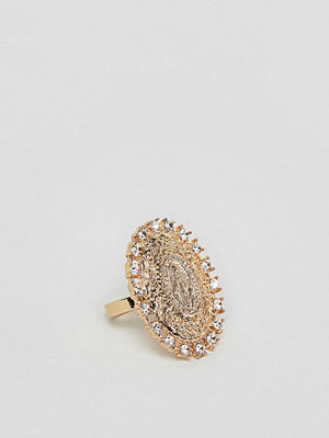 ASOS DESIGN ring with vintage style icon and crystals