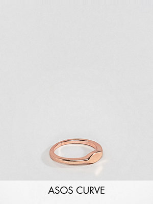 ASOS Curve ASOS DESIGN Curve pinky ring with flat front detail in rose gold - Rose gold