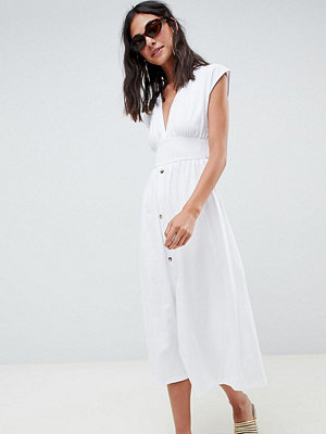 Asos Tall ASOS DESIGN Tall midi dress with belt and tortoiseshell buttons