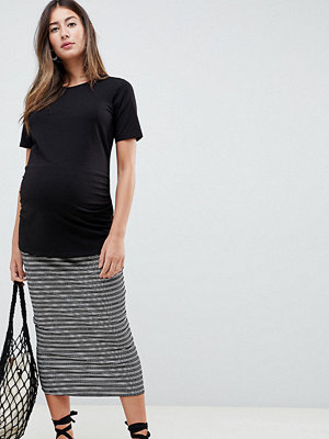 ASOS DESIGN Maternity mono stripe rib midi pencil skirt - Mono
