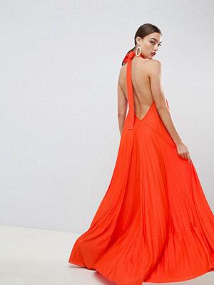 ASOS DESIGN backless halter pleated maxi dress