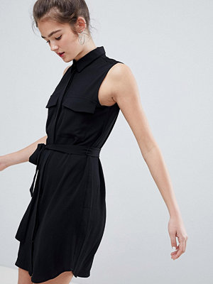 Monki Tie Front Shirt Dress