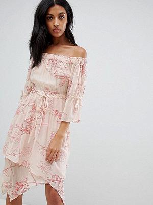 AllSaints off-shoulder floral embroidered dress - Pink coral red