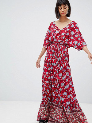Mango wide sleeve maxi dress in floral print