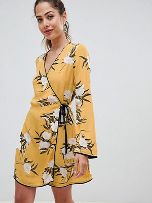 Miss Selfridge wrap tea dress with floral print in yellow