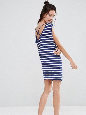 ASOS Petite Sleeveless Dress with Cowl Back and Strap Detail in Stripe - Navy/white