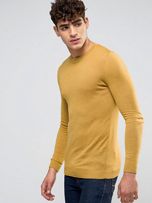 ASOS Muscle Fit Jumper in Yellow Cotton - Highrise gold