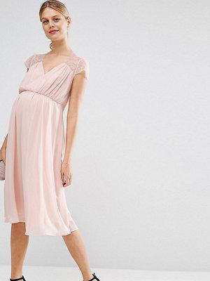 ASOS Maternity Kate Lace Midi Dress - Nude