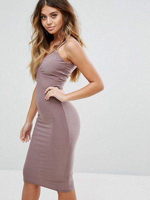 Club L Slinky Dress with Double Strap Detail - Lilac