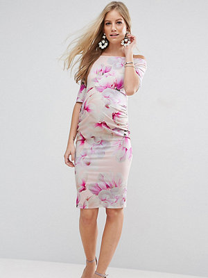 ASOS Maternity Bardot Dress with Half Sleeve in Pink Floral Print - Nude base