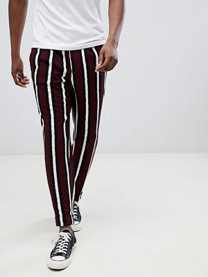 ASOS DESIGN tapered smart trousers in bold stripe - Burgundy