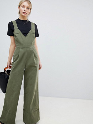 ASOS DESIGN Jumpsuit In Twill With Tie Detail And Wide Leg - Khaki