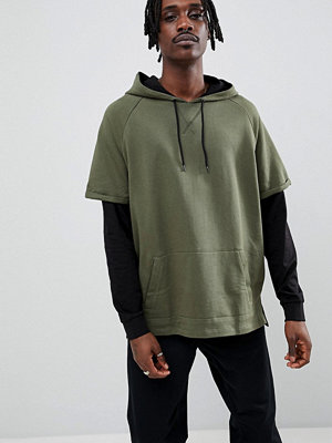 Street & luvtröjor - ASOS DESIGN oversized hoodie in khaki with contrast double sleeves - Rifle green/ black