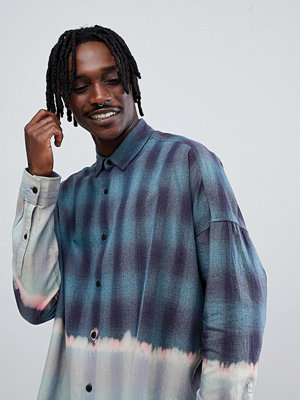 ASOS DESIGN regular fit longline dip dye check shirt