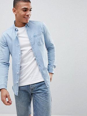 ASOS DESIGN stretch slim denim shirt in bleach wash - Bleach wash