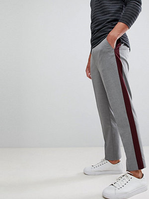 ASOS DESIGN tapered crop smart trouser with burgundy side stripe
