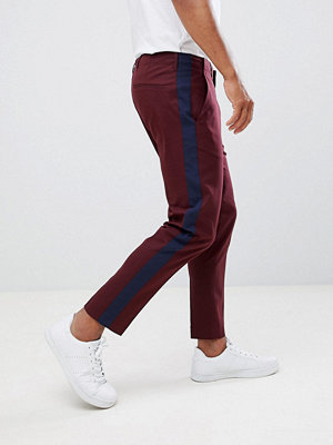 ASOS DESIGN skinny crop smart trouser with navy side stripe - Burgundy